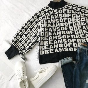 H&M Alphabet Print Funnel Neck Sweater